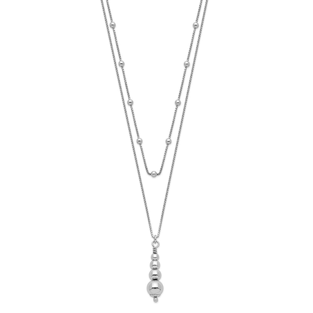 Sterling Silver Rhodium-Plated Multi-layered 1.75in ext. Necklace