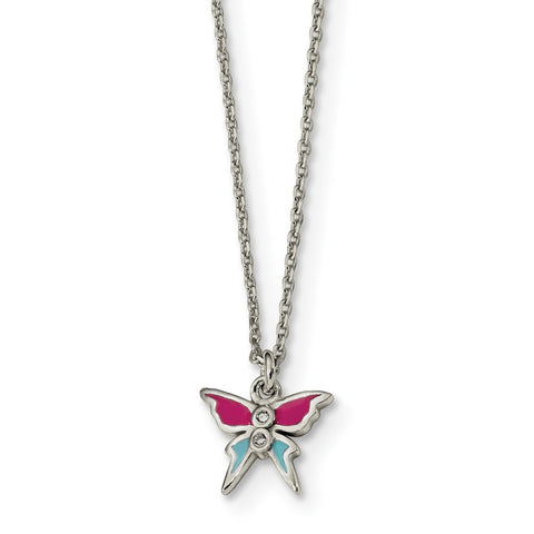 Sterling Silver Polished & Enameled CZ Butterfly 14in Necklace