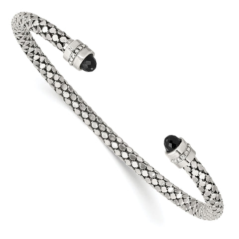 Sterling Silver Black Onyx Textured Cuff Bracelet