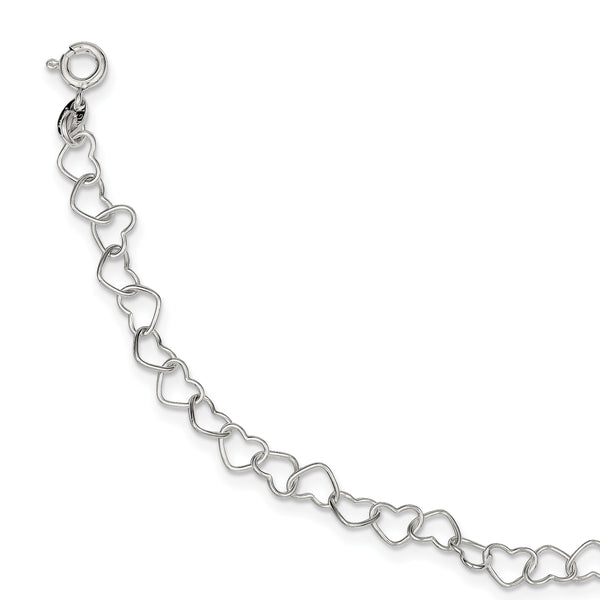 Sterling Silver 8inch Polished Fancy Heart Link Bracelet