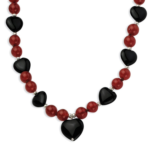 Sterling Silver 16 & 13mm Blk Agate/8.5mm Red Agate Beads Necklace