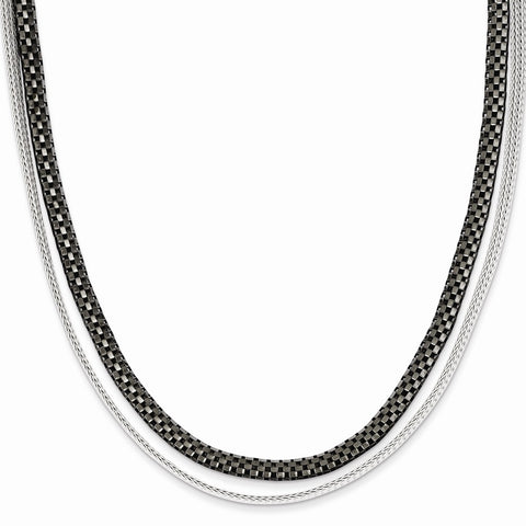 Sterling Silver Black Rhodium 2 Strand Woven & Box Link Necklace