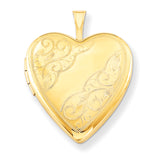 1/20 Gold Filled 20mm Side Swirled Heart Locket