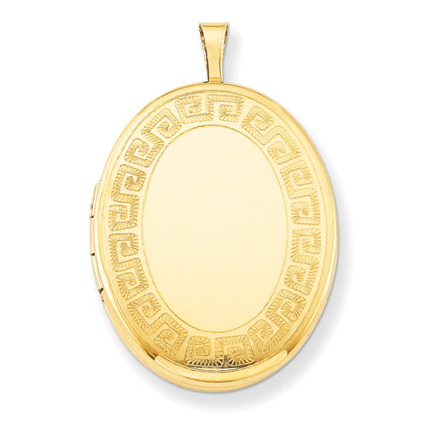 1/20 Gold Filled 26mm Greek Key Border Oval Locket