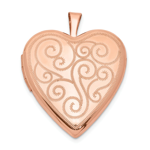 Sterling Silver Rose Gold-plated 20mm Swirl Design Heart Locket