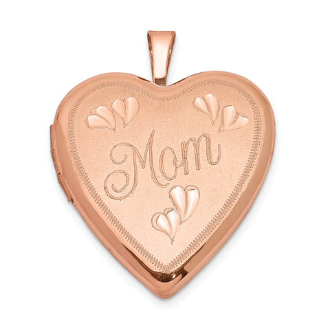 Sterling Silver Rose Gold-plated 20mm MOM Heart Locket