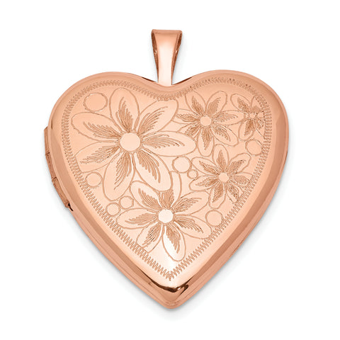 Sterling Silver Rose Gold-plated 20mm with Daisies Heart Locket
