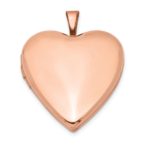 Sterling Silver Rose Gold-plated 20mm Polished Front/Satin Back Heart Locke