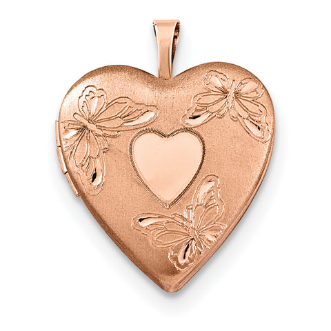Sterling Silver Rose Gold-plated 20mm with Heart Butterflies Heart Locket
