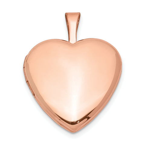 Sterling Silver Rose Gold-plated Satin and Polished 2-Frame Heart Locket