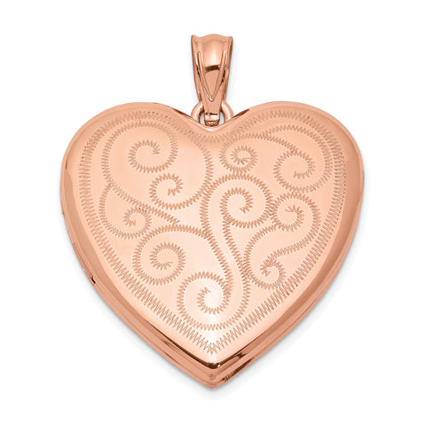Sterling Silver Rose Gold-plated 24mm Swirl Design Heart Locket