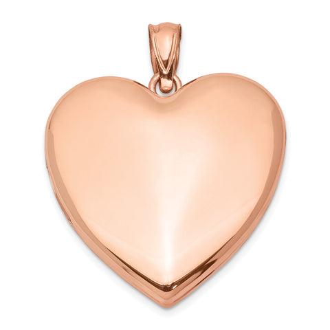 Sterling Silver Rose Gold-plated 24mm Plain Heart Locket