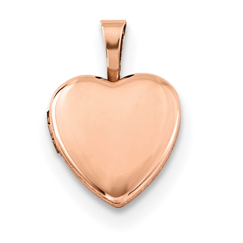 Sterling Silver Rose Gold-plated Polished 12mm Heart Locket