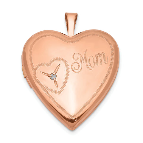 Sterling Silver Rose Gold-plated 20mm Mom with Diamond Heart Locket