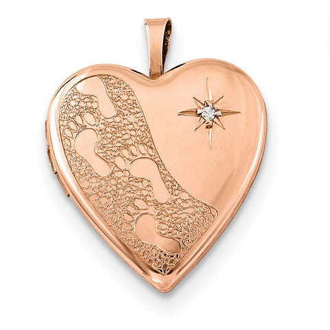 Sterling Silver Rose Gold-plated 20mm w/ Diamond Footprints Heart Locket