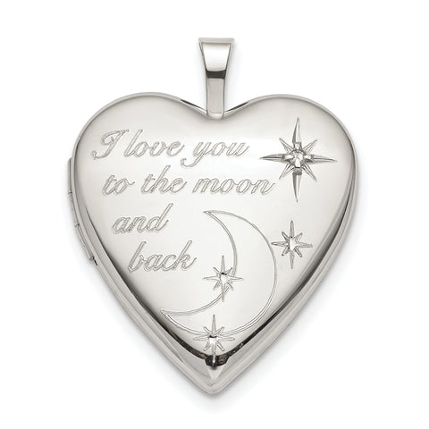 Sterling Silver 20mm LOVE TO THE MOON Diamond Heart Locket
