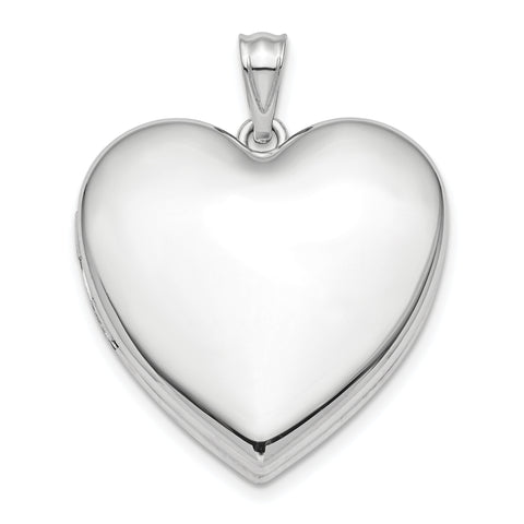 Sterling Silver Rhodium-plated 24mm Plain Ash Holder Heart Locket