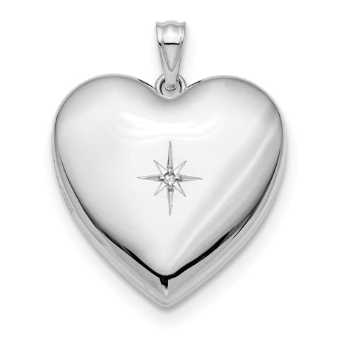 Sterling Silver Rhodium-plated 24mm with Dia. Star Design Ash Holder Heart