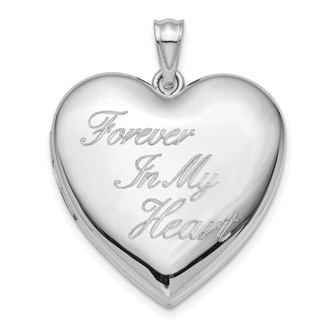 Sterling Silver Rhodium-plated 24mm Forever in My Heart Ash Holder Heart Lo