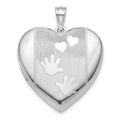 Sterling Silver Rhodium-plated Handprints Ash Holder Heart Locket
