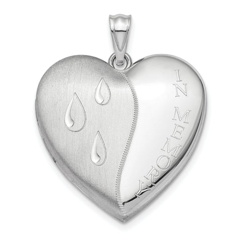 Sterling Silver Rhodium-plated 24mm Memory Ash Holder Heart Locket