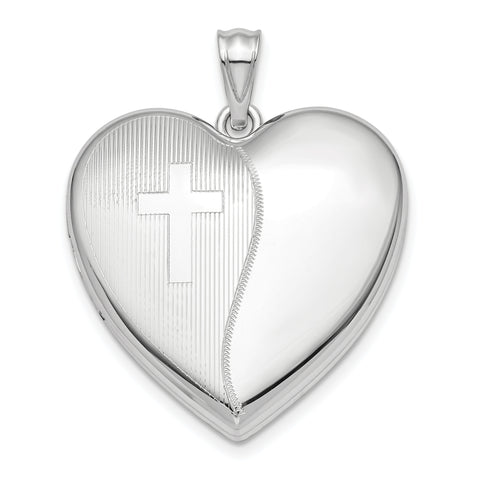 Sterling Silver Rhodium-plated 24mm with Cross Design Ash Holder Heart Lock