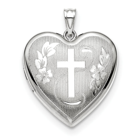 Sterling Silver Rhodium-plated 24mm D/C Cross Ash Holder Heart Locket