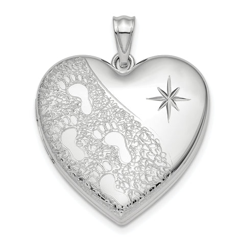 Sterling Silver Rhodium-plated 24mm D/C Footprints Ash Holder Heart Locket