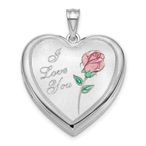 Sterling Silver Rhodium-plated 24mm Enameled Rose Ash Holder Heart Locket