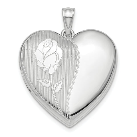 Sterling Silver Rhodium-plated Flower Ash Holder Heart Locket
