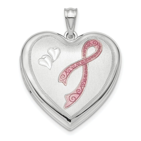 Sterling Silver Rhodium-plated 24mm Enameled, D/C Pink Ribbon Ash Holder
