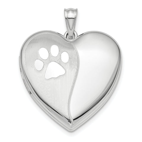 Sterling Silver Rhodium-plated Satin & Polished Paw Prints Ash Holder Heart