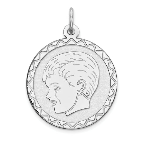 Sterling Silver Rhodium-plated Engraveable Boy Disc Charm