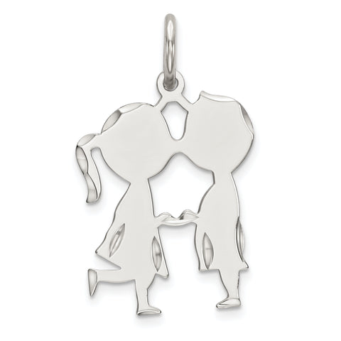 SS Rh-plt Engraveable Boy/Girl Polished Front/Satin Back Disc Charm
