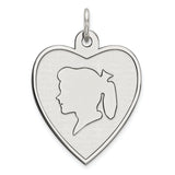 Sterling Silver Rhodium-plated Engraveable Girl Disc Charm