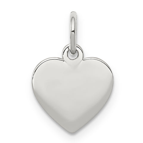 Sterling Silver Rhodium-plated Engraveable Heart Polished  Disc Charm
