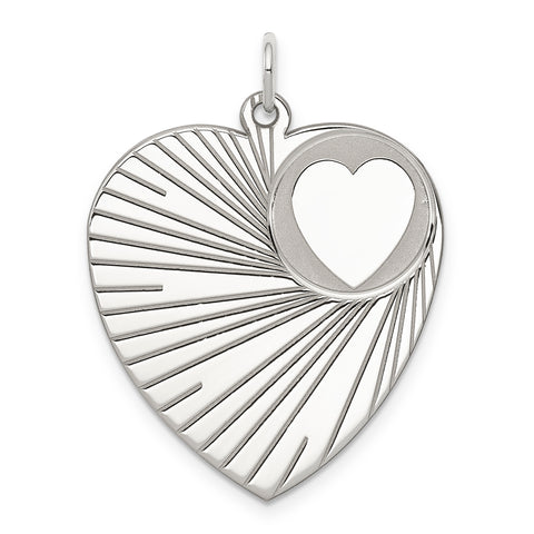 Sterling Silver Rhodium-plated Engraveable Heart Disc Charm