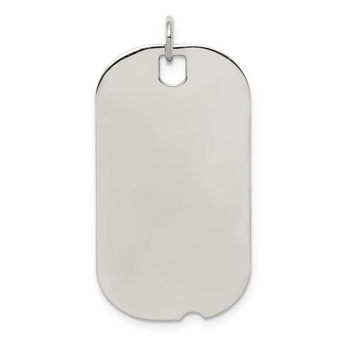 SS Rh-plt Engraveable Dog Tag Polished Front/Satin Back Disc Charm