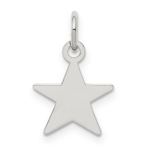 Sterling Silver Rhodium-plated Engraveable Star Disc Charm