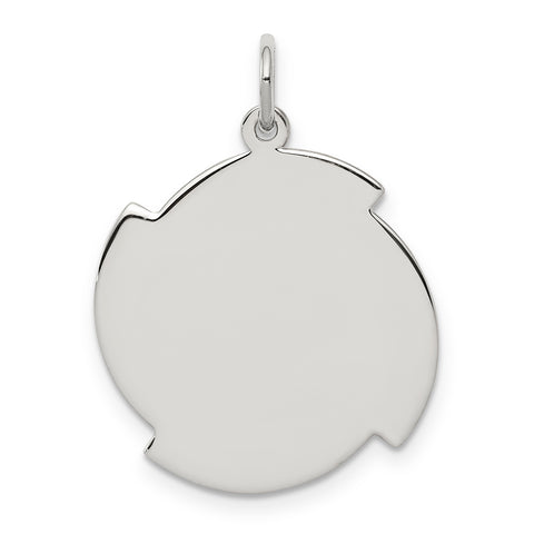 Sterling Silver Rhodium-plated Engraveable Disc Charm