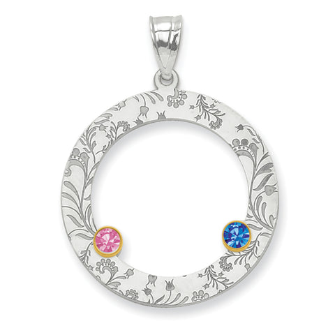 Sterling Silver Rhodium-plated/14K Bezel Crystal Family Pendant
