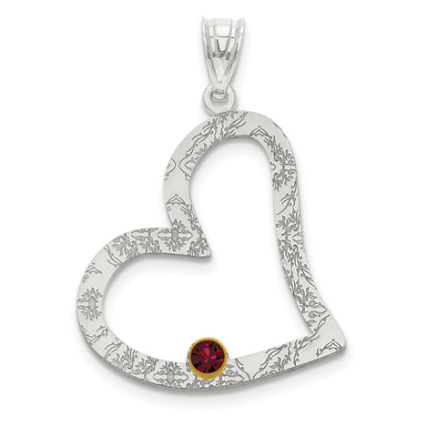 Sterling Silver Rhodium-plated/14K Bezel Crystal Family Heart Pendant