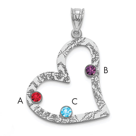 Sterling Silver Rhodium-plated Crystal Family Heart Pendant