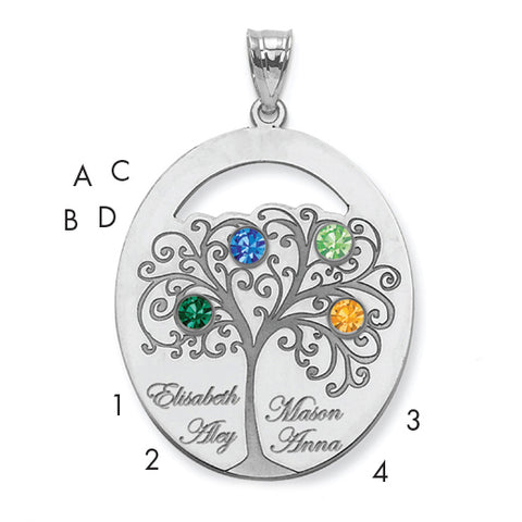 Sterling Silver Rhodium-plated Crystal Family Pendant