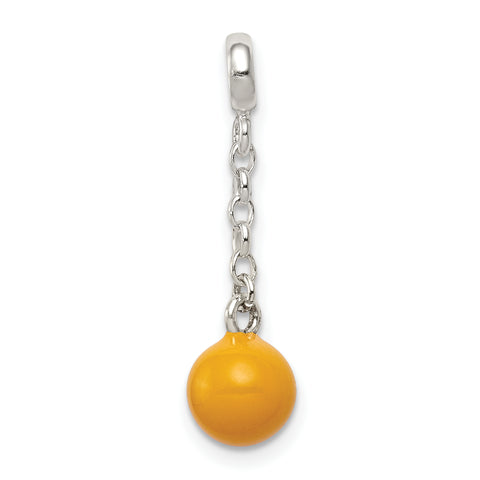 Sterling Silver Yellow Enameled Bead 1/2in Dangle Enhancer