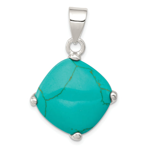 Sterling Silver Square Turquoise Pendant