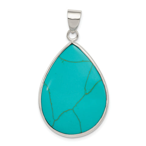 Sterling Silver Teardrop Turquoise Pendant