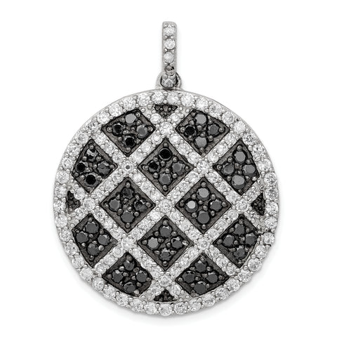 Sterling Silver Black and White CZ Checkered Pendant