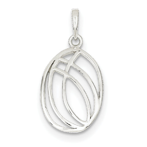 Sterling Silver Polished Fancy Oval Pendant