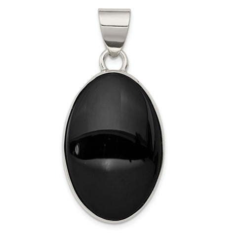Sterling Silver Onyx Polished Oval Pendant